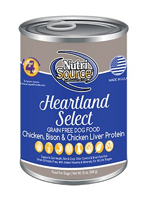 Nutri Source Grain Free Heartland Select Bison and Chicken Canned Dog Food 13 oz.