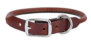 Weaver Brown Leather Rolled Collar 1 in.