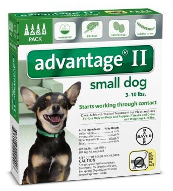 Advantage II for Small Dogs 4 Pack - Green