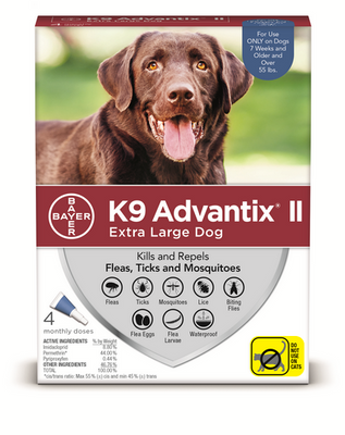 K9 Advantix II for Extra Large Dog Breeds 4 Pack - Blue