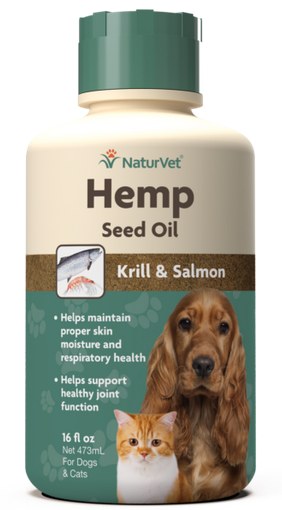NaturVet Hemp Oil with Krill and Salmon for Dogs and Cats 16 oz.