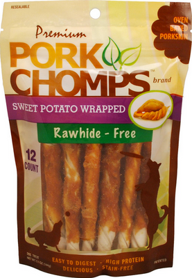 Pork Chomps Swt Potato Wrap Mini Twist 12 pk