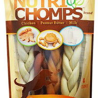 NutriChomps Dog Assorted Braid 6 in. 4 pk