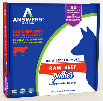 Answers Detailed Frozen Raw Beef Patties Dog Food 4 lb.