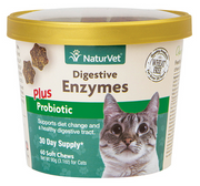 NaturVet Digestive Enzymes plus Probiotic Soft Chews for Cats 60 ct.