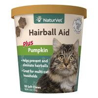NaturVet Hairball Aid with Pumpkin Soft Chews for Cats 100 ct.
