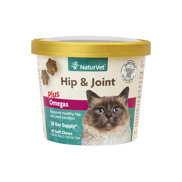 NaturVet Hip and Joint plus Omegas Soft Chews for Cats 60 ct.