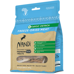 Nandi Freeze Dried Ostrich Meat Treats for Dogs 2 oz.