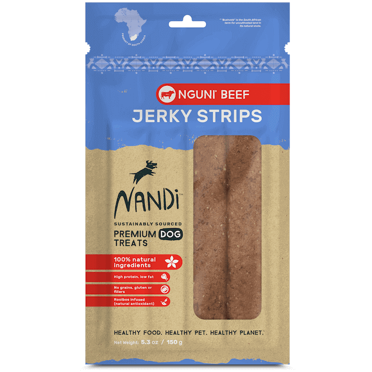 Nandi Beef Jerky Strip Treats for Dogs 5.3 oz.