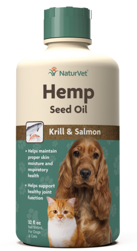 NaturVet Hemp Oil with Krill and Salmon for Dogs and Cats 32 oz.