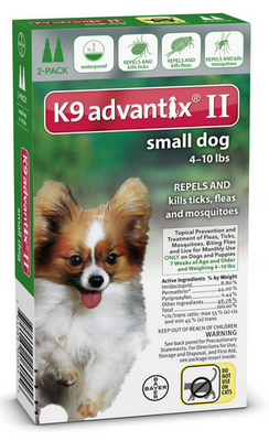 K9 Advantix II for Small Dog Breeds 2 pack - Green