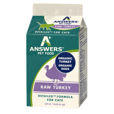 Answers Detailed Frozen Raw Turkey Formula for Cats 1 lb. Carton