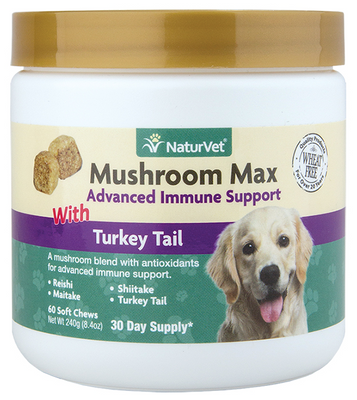 NaturVet Mushroom Max Advanced Immune Support for Dogs and Cats 60 ct. Jar