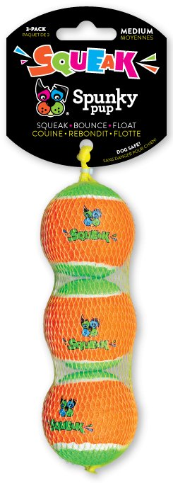 Spunky Pup Squeaky Tennis Balls Medium