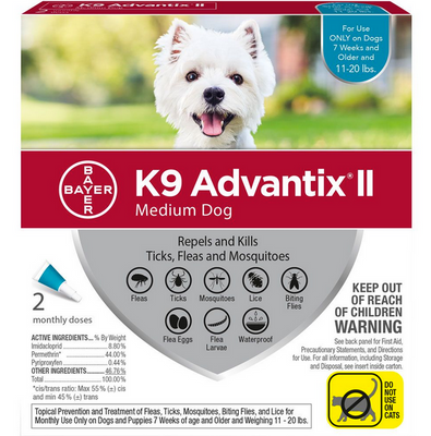 K9 Advantix II for Medium Dog Breeds 2 Pack - Teal