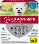 K9 Advantix II for Medium Dog Breeds 4 Pack - Teal