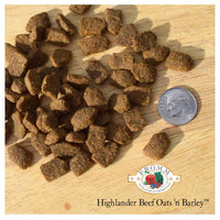 A Scottish-inspired entrée specially prepared with beef, whole oats, whole barley, and an assortment of fruits and vegetables.  Dry dog food.