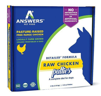 Answers Detailed Frozen Raw Chicken Patties Dog Food 4 lb.