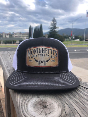 Monighetti Merch Black and White Richardson Snapback with Mesh Panels