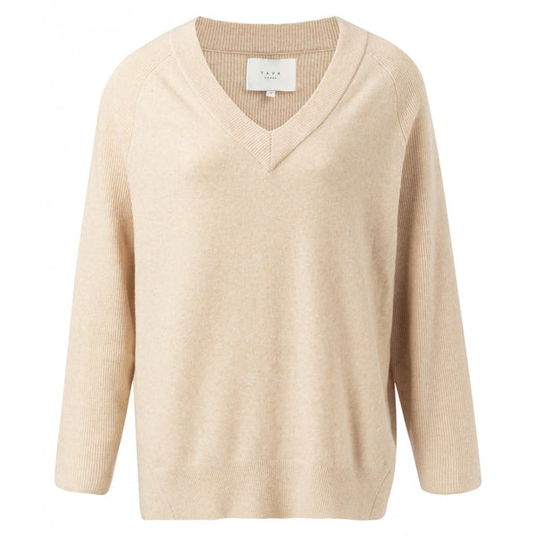 Mix Ribbed V-Neck Sweater