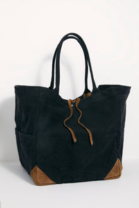 Fremont Mixed Material Tote In Washed Black