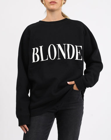 Blonde Big Sister Crew In Black & Cream