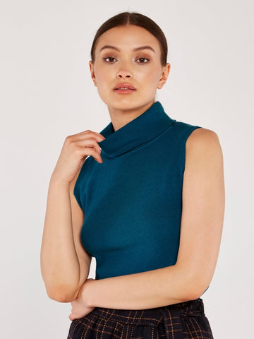 Roll Neck Sleeveless Knit Top In Teal