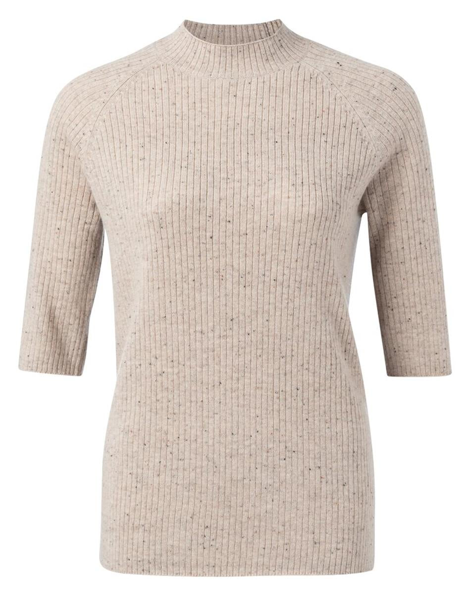 Half Sleeve High Neck Sweater In Beige Melange