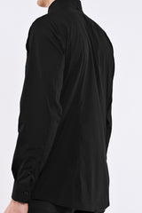 DonandMerit men's shirt BCN01 black cotton stretch seam at the bend of the arm for increased movement
