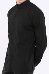 "DonandMerit men's shirt BCN01 black cotton stretch 5 ""invisible"" zipper pockets"