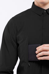 "DonandMerit men's shirt BCN01 black ""hidden"" pockets with easy access from the front of the chest"