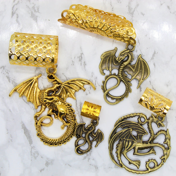 3 Headed Gold Dragon Hair Cuff Set | Braid Jewelry