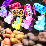 Glitter Gold Flake Gummy Bear Hair Cuffs | Braid Jewelry
