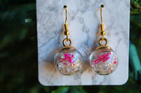 Pink Holiday Snow Globe Earrings | Braid Jewelry