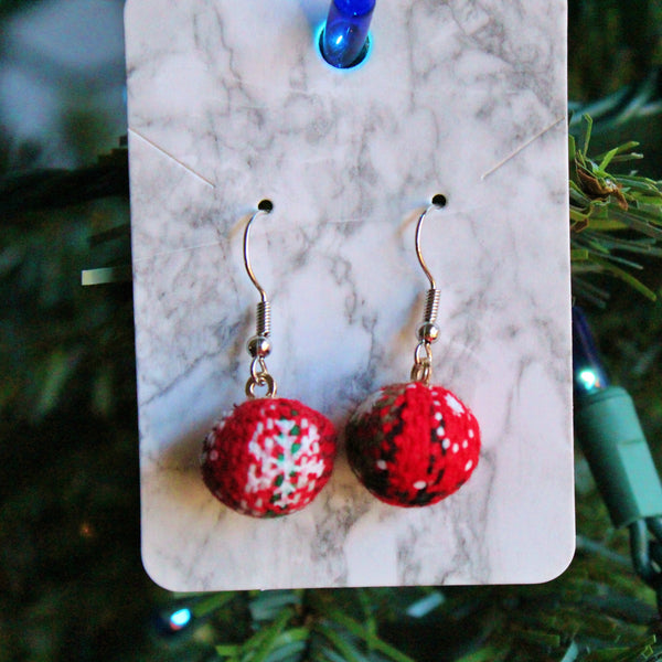 Silver Velvet Ornament Holiday Earrings | Braid Jewelry