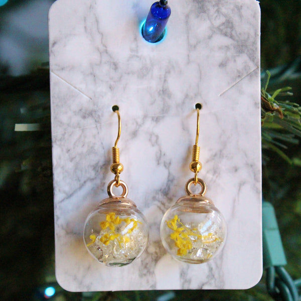 Yellow Holiday Snow Globe Earrings | Braid Jewelry