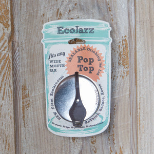 PopTop Sealable Drinking Jar Lid – Wide Mouth - Eco Jarz Aus