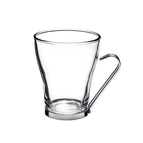 Bormioli Rocco Oslo Cappuccino Glass Cups 4 Set 7.5 Oz | Tempered Glass, Ergonomic Stainless Steel Handles, Dishwasher Safe | For Coffee Drinks, Beverages, Latte, Macchiato, Espresso, Mocha & More
