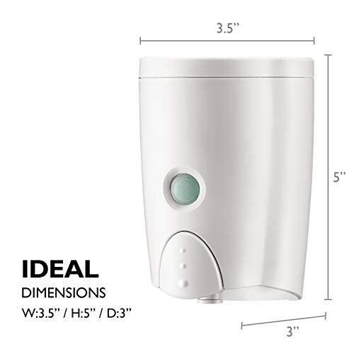 Homepluz Simply White Manual Wall Soap Dispenser 20 Oz (580ml)   Durable Rust Resistant Abs Casing