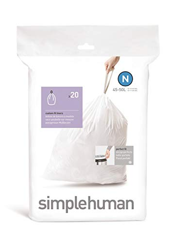 simplehuman Code N Custom Fit Drawstring Trash Bags, 45 -50 L / 12-13 Gallon, 1 Refill Pack (20 Count)