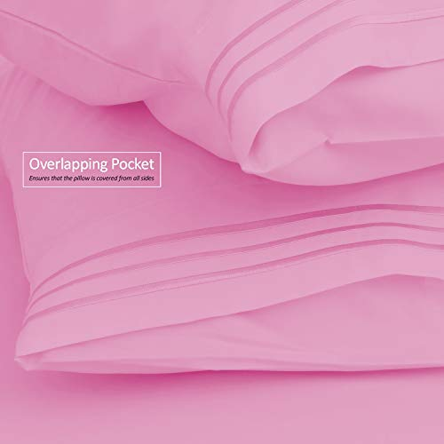Clara Clark Premier 1800 Collection 3pc Bed Sheet Set - Twin (Single) Size, Strawberry Pink