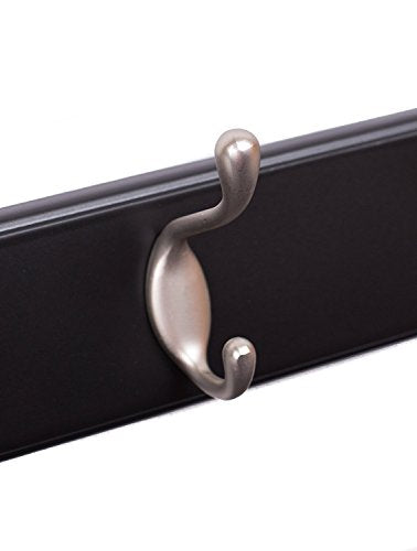 BirdRock Home Oval Hook Coat and Hat Rack - 4 Hooks - 17 Inches - Wall Mount - Decorative Home Storage - Entryway Foyer Hallway Bathroom Bedroom Rail - Black Finish - Satin Nickel Hooks Bathroom Rail