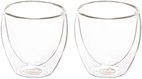Bodum Pavina Glass, Double-Wall Insulated Glass, Clear, 2.5 Ounce, .08 Liter Each (Set of 2)