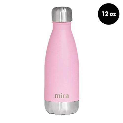 Mira 12 Oz Stainless Steel Vacuum Insulated Water Bottle   Double Walled Cola Shape Thermos   24 Hou