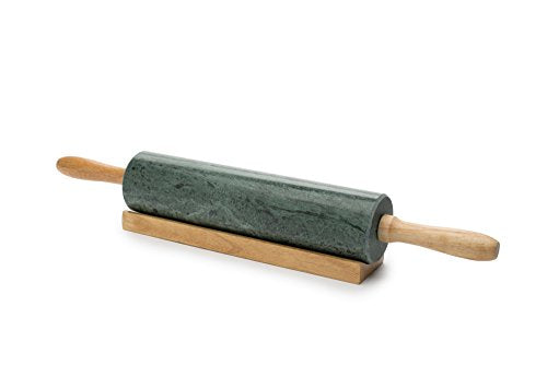 Fox Run 3842 Marble Rolling Pin and Base, Green