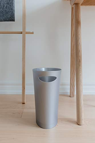 Umbra Skinny Sleek & Stylish Bathroom Trash, Small Garbage Can Wastebasket for Narrow Spaces at Home or Office, 2 Gallon Capacity, Silver