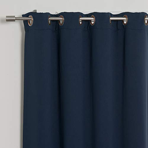"Best Home Fashion Basic Thermal Insulated Blackout Curtains - Antique Bronze Grommet Top - Navy - 52"" W x 84"" L - No tie Backs (Set of 2 Panels)"