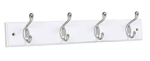 BirdRock Home Oval Hook Coat and Hat Rack - 4 Hooks - Wall Mount - White Finish - Satin Nickel Hooks