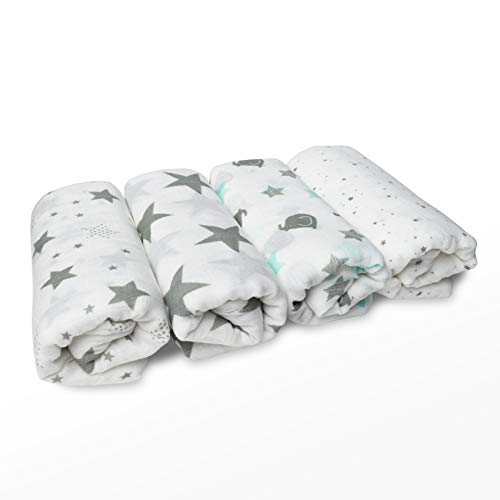 Cuddle Bug Muslin Baby Swaddle Blankets 4 Pack Large Size 4 Feet X 4 Feet â?? Unisex Muslin Cotton Al