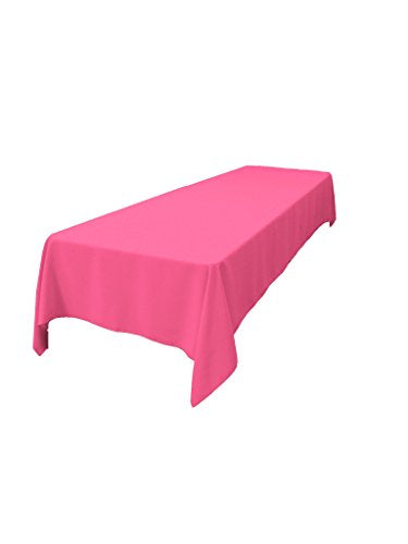 "LA Linen Polyester Poplin Rectangular Tablecloth 60 by 144"" , Hot Pink"